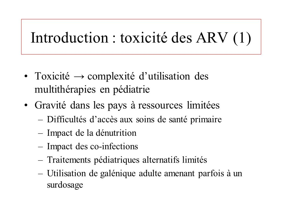 Introduction : toxicité des ARV (1)