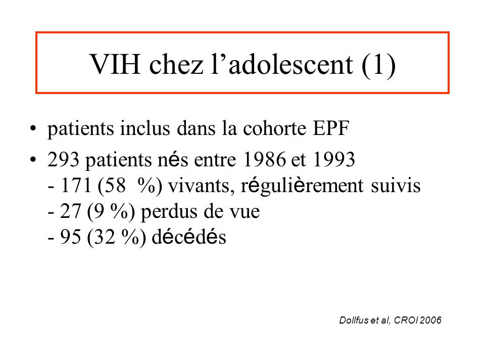 VIH chez l'adolescent (1)