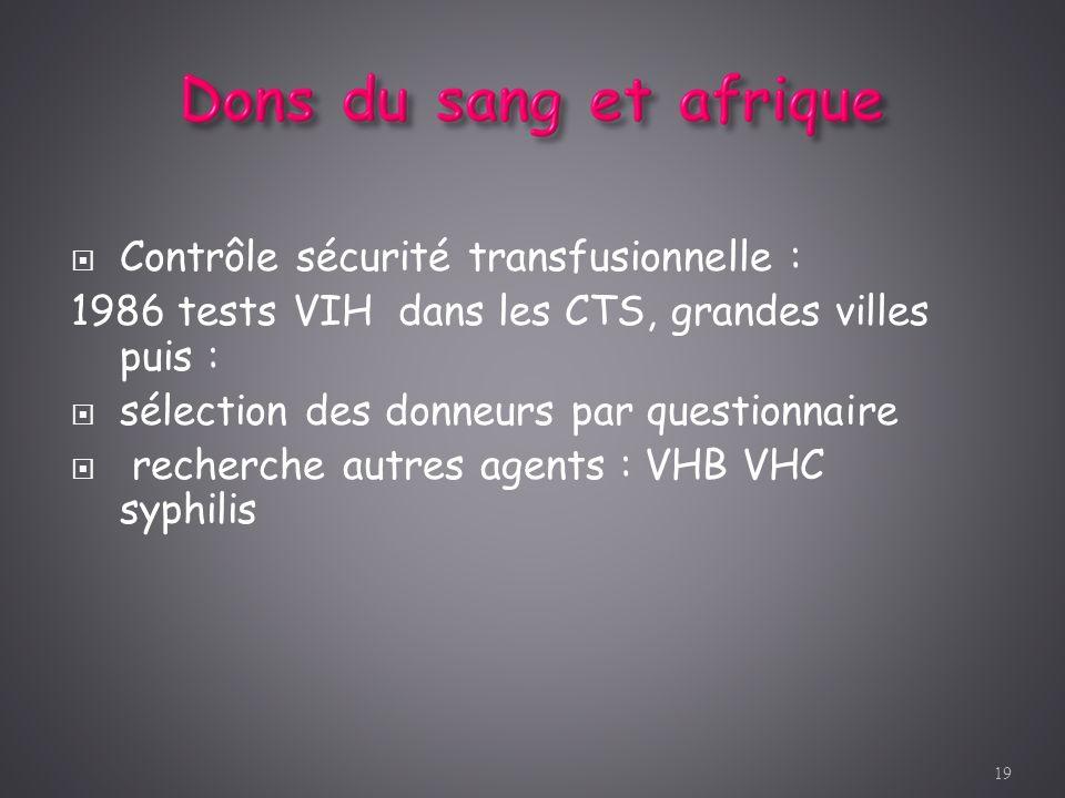 Contrôle sécurité transfusionnelle :