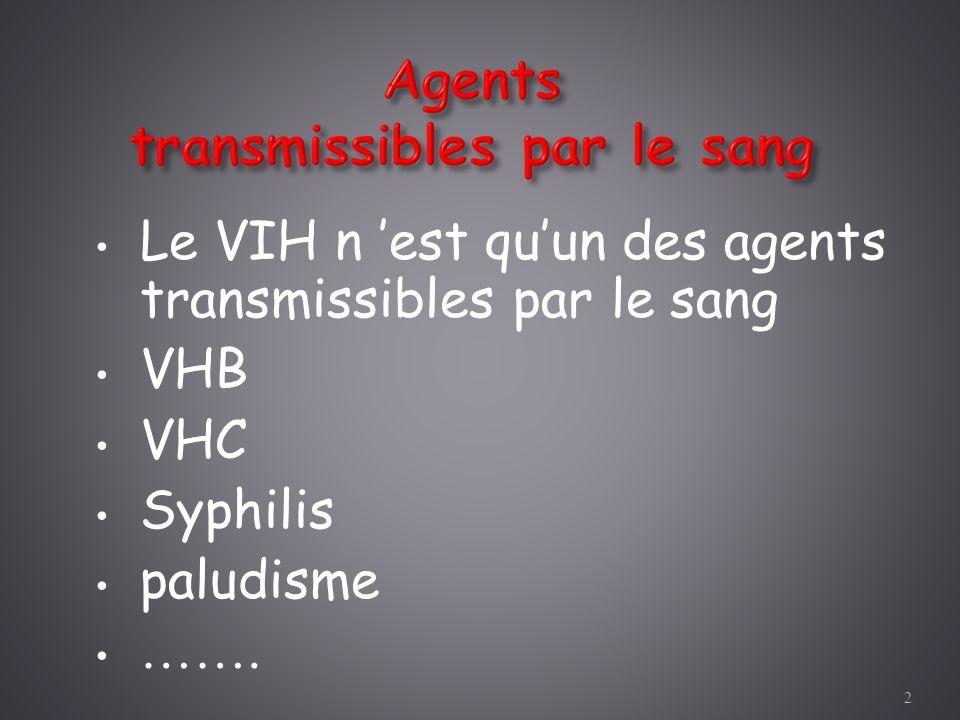 Le VIH n 'est qu'un des agents transmissibles par le sang VHB VHC