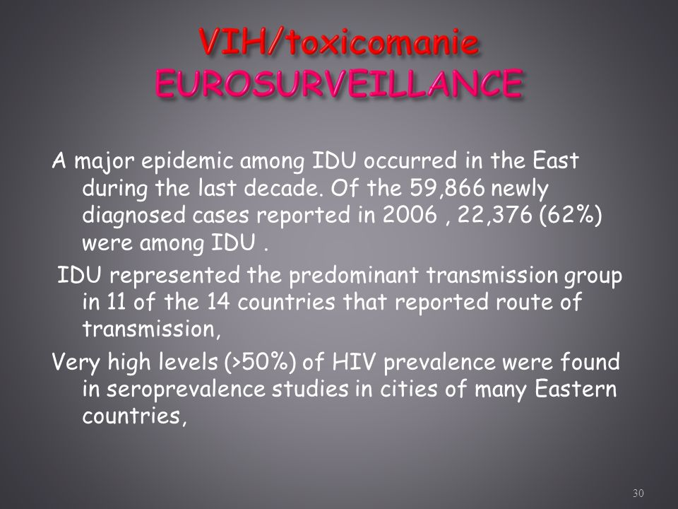 A major epidemic among IDU occurred in the East during the last decade