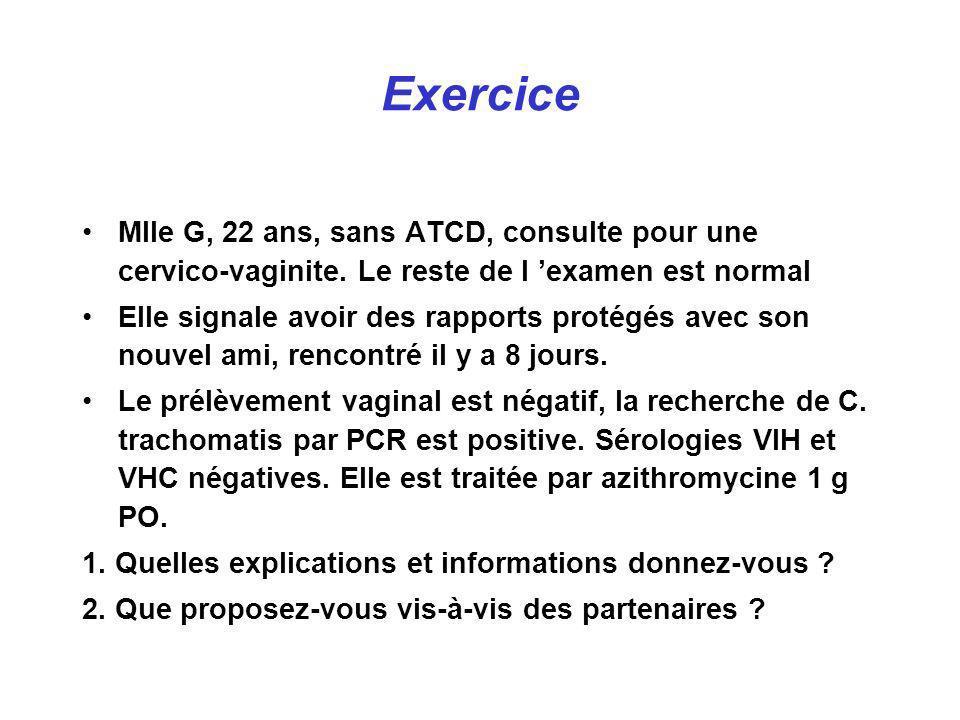 Exercice Mlle G, 22 ans, sans ATCD, consulte pour une cervico-vaginite. Le reste de l 'examen est normal.