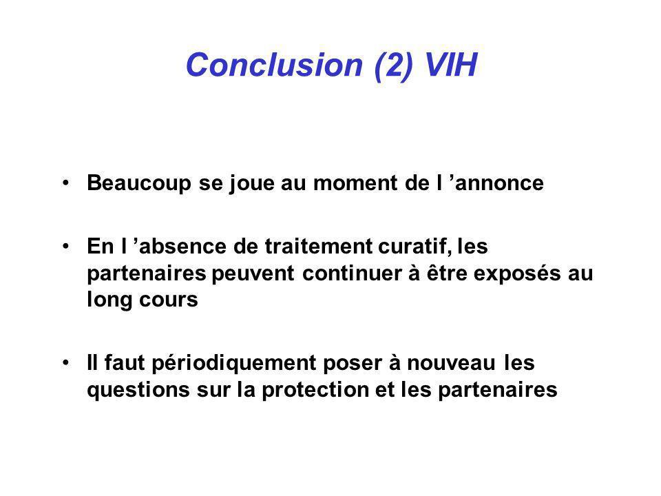 Conclusion (2) VIH Beaucoup se joue au moment de l 'annonce