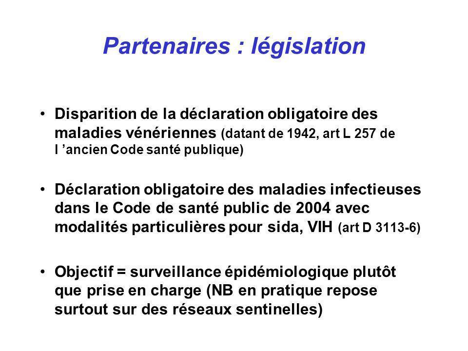 Partenaires : législation