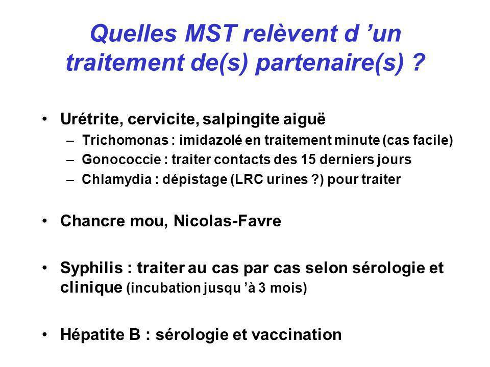 Quelles MST relèvent d 'un traitement de(s) partenaire(s)