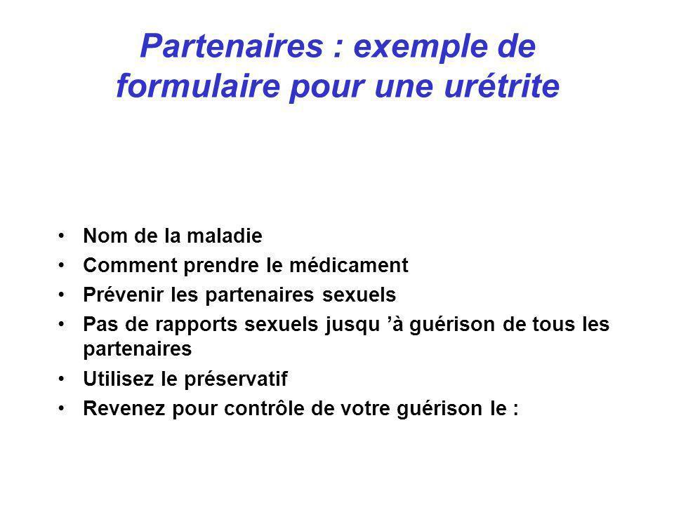 Partenaires : exemple de formulaire pour une urétrite