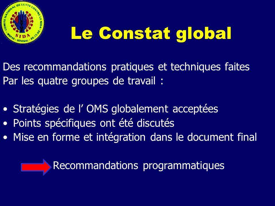 Le Constat global Des recommandations pratiques et techniques faites
