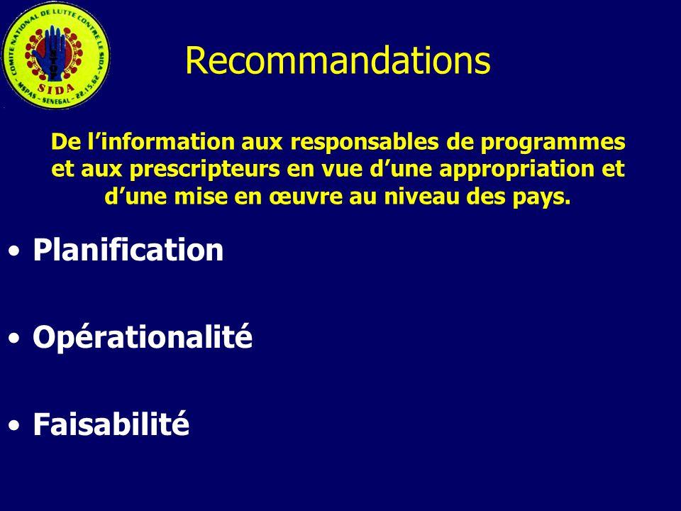 Recommandations De l'information aux responsables de programmes et aux prescripteurs en vue d'une appropriation et d'une mise en œuvre au niveau des pays.