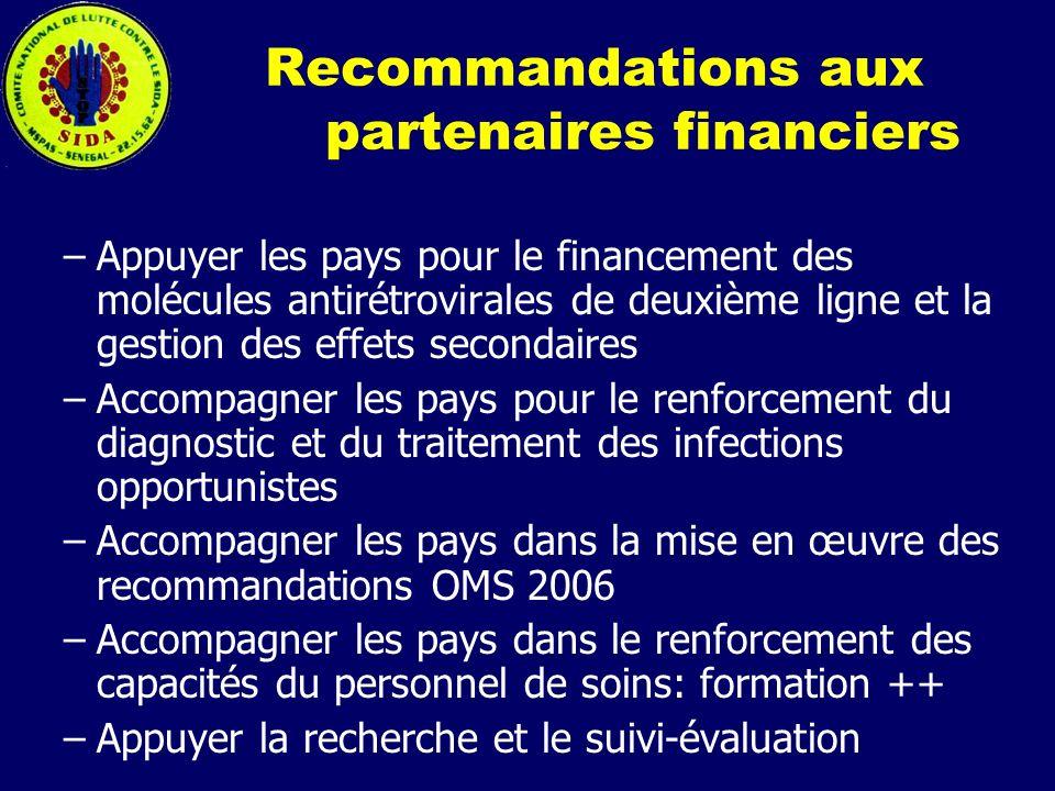Recommandations aux partenaires financiers