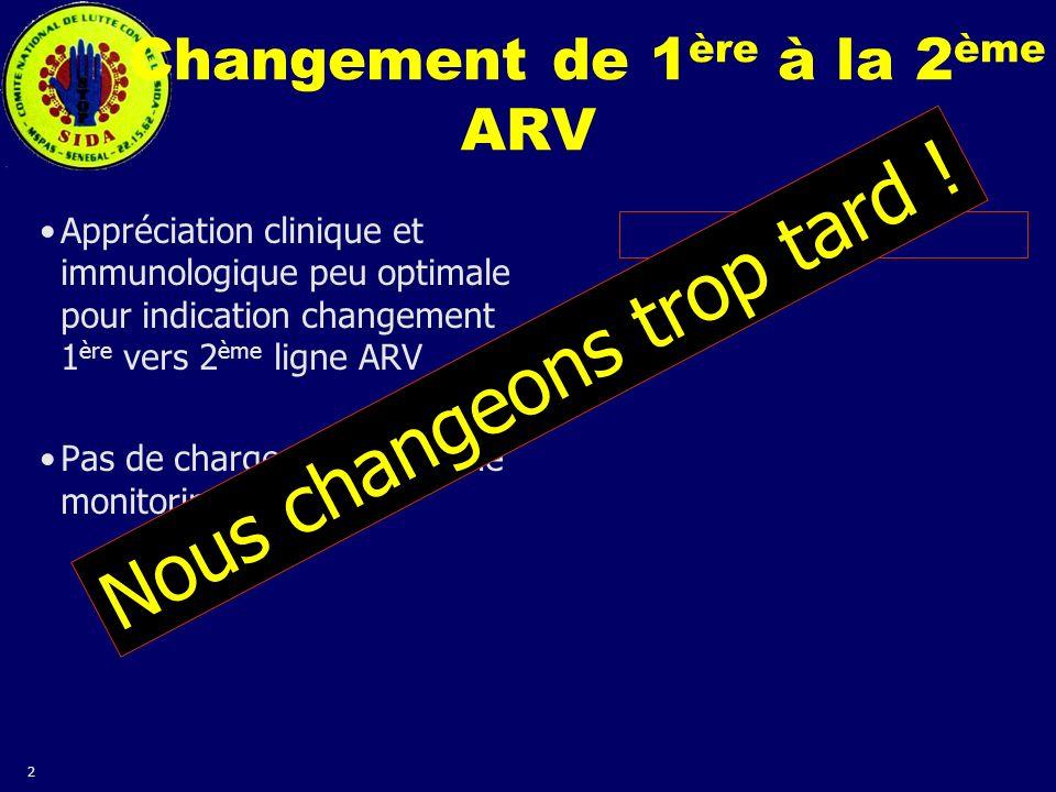 Changement de 1ère à la 2ème ARV