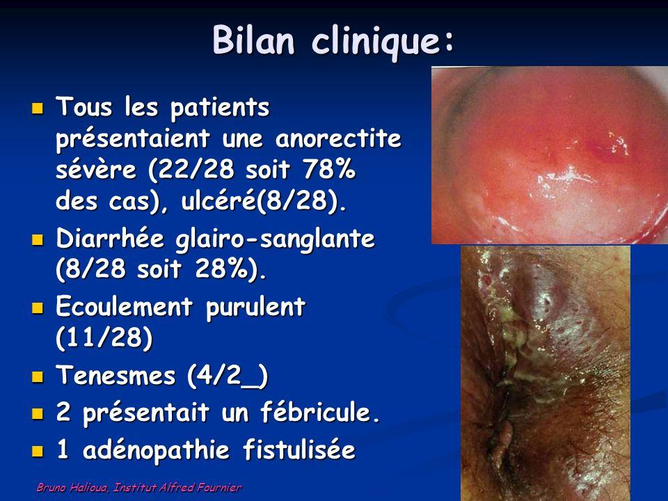 Bilan clinique: Tous les patients présentaient une anorectite sévère (22/28 soit 78% des cas), ulcéré(8/28).