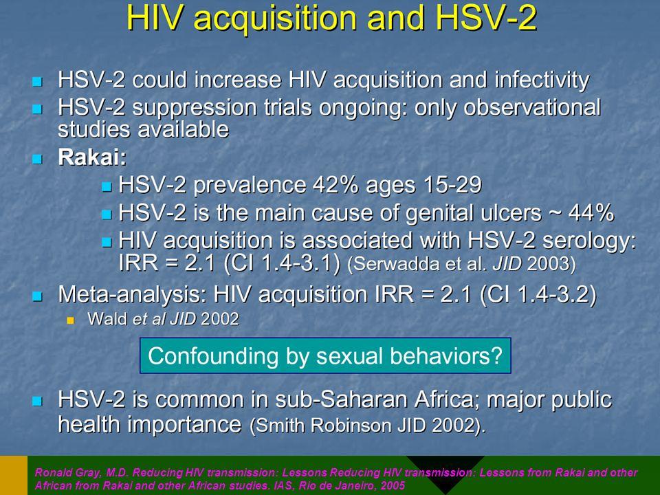 HSV2 est plus répandu qu'on ne le croyait en Afrique sub-saharienne: responsable de 44% des ulceres génitaux à Rakai. Multiplie par >2x le risque de transmission du VIH