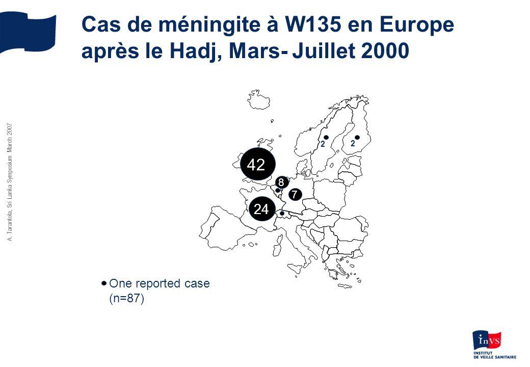 Cas de méningite à W135 en Europe après le Hadj, Mars- Juillet 2000