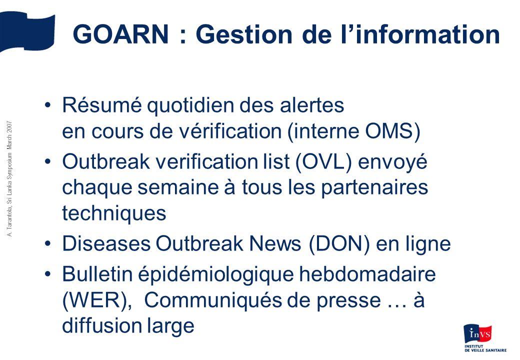 GOARN : Gestion de l'information