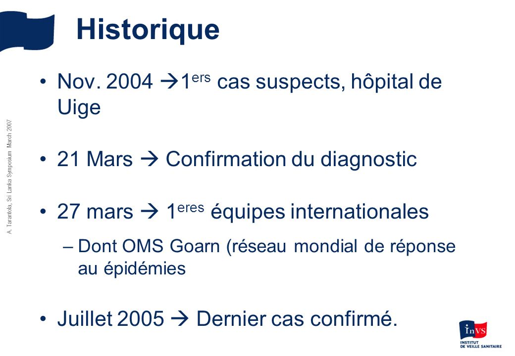 Historique Nov. 2004 1ers cas suspects, hôpital de Uige