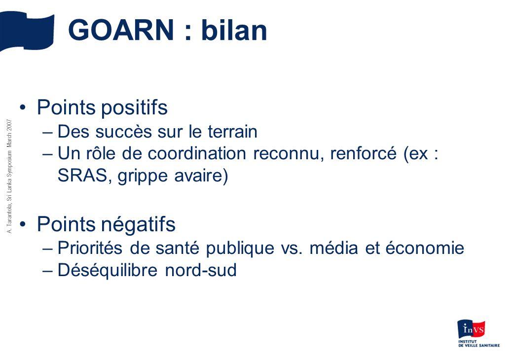 GOARN : bilan Points positifs Points négatifs