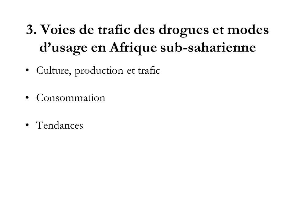 3. Voies de trafic des drogues et modes d'usage en Afrique sub-saharienne