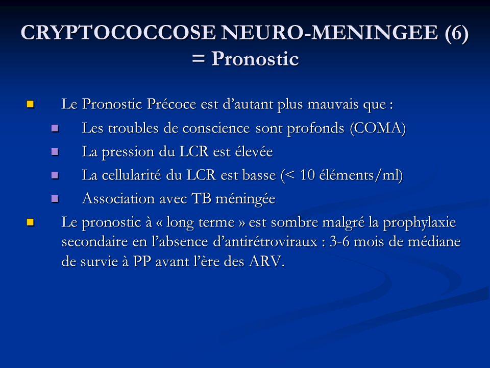 CRYPTOCOCCOSE NEURO-MENINGEE (6) = Pronostic
