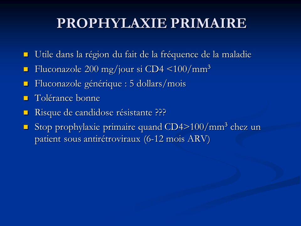PROPHYLAXIE PRIMAIREUtile dans la région du fait de la fréquence de la maladie. Fluconazole 200 mg/jour si CD4 <100/mm3.