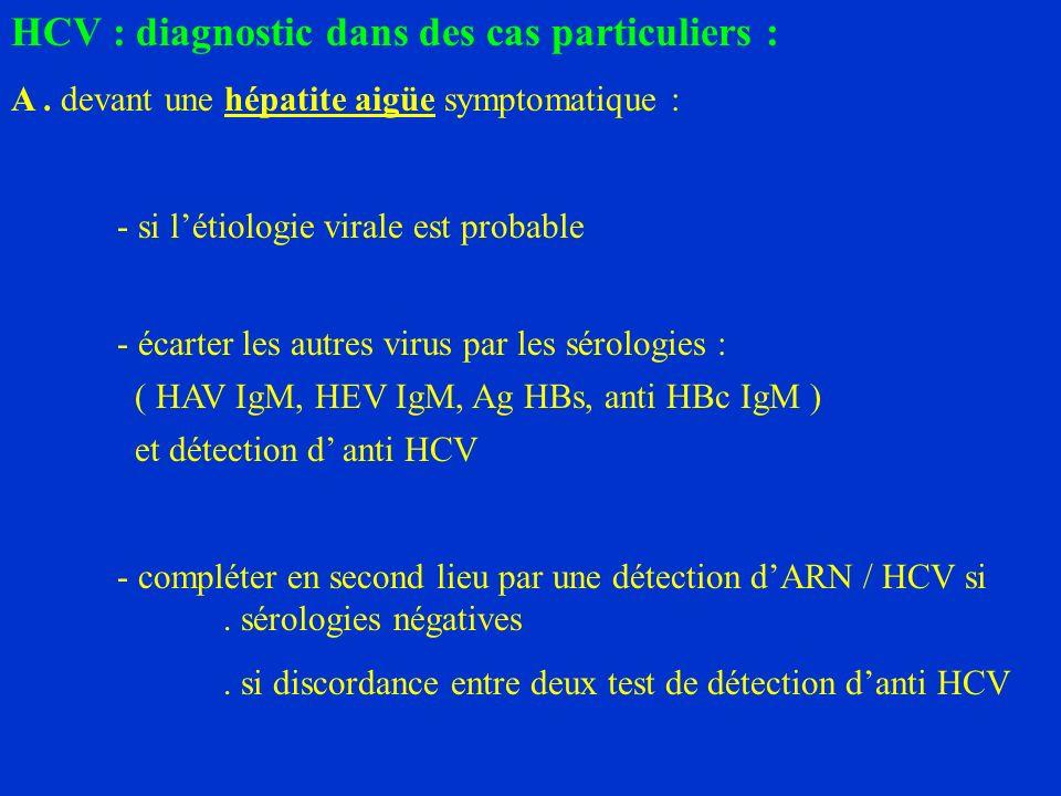 HCV : diagnostic dans des cas particuliers :