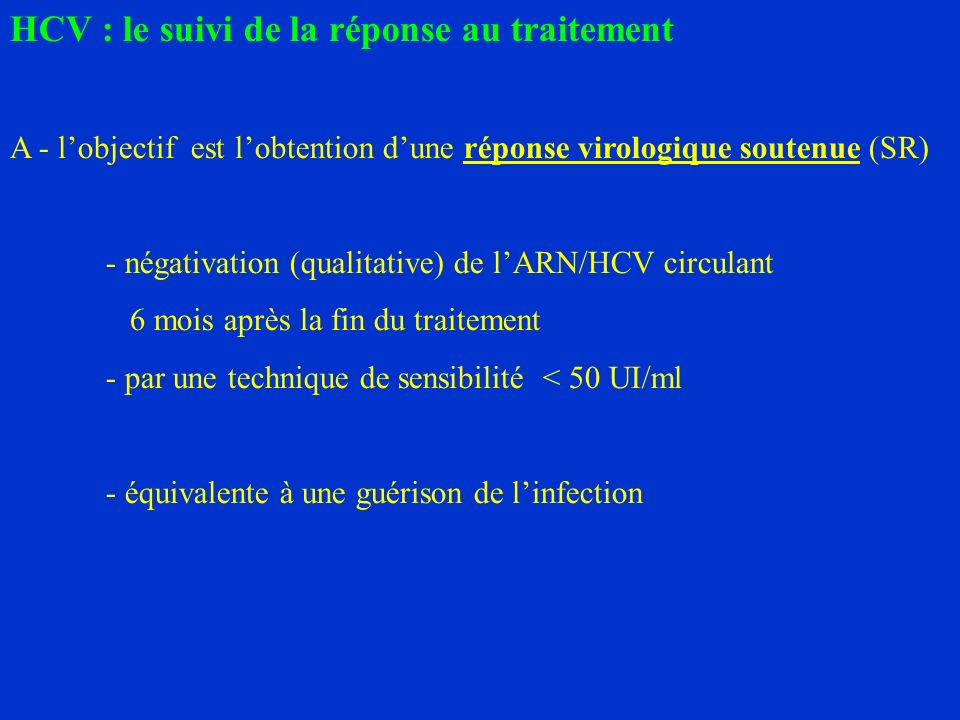 HCV : le suivi de la réponse au traitement