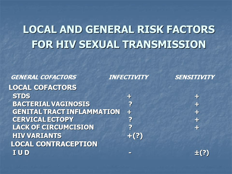 LOCAL AND GENERAL RISK FACTORS FOR HIV SEXUAL TRANSMISSION