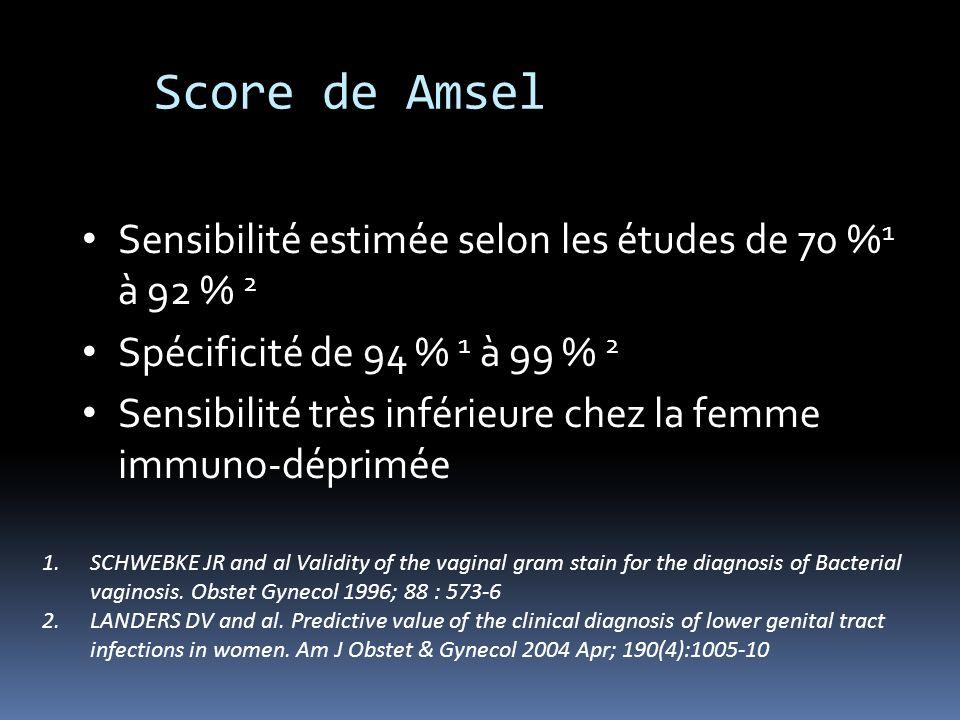 Score de Amsel Sensibilité estimée selon les études de 70 %1 à 92 % 2