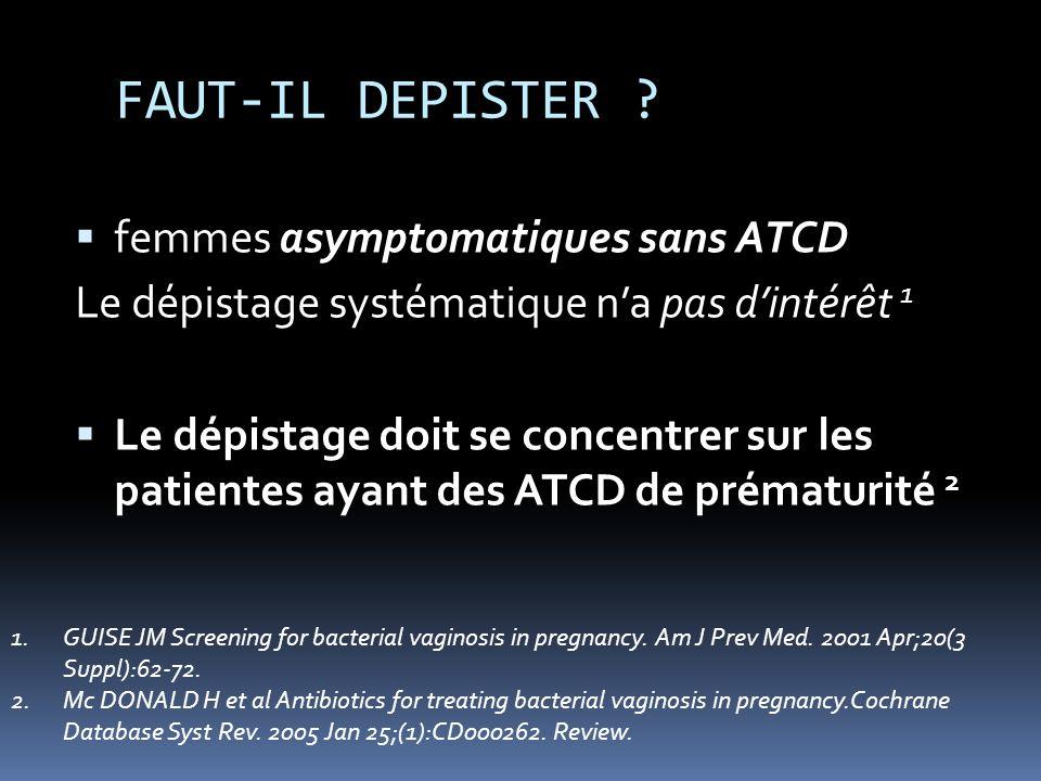 FAUT-IL DEPISTER femmes asymptomatiques sans ATCD
