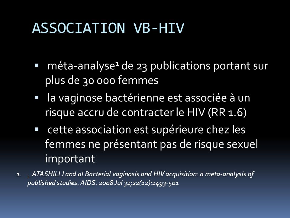 ASSOCIATION VB-HIV méta-analyse1 de 23 publications portant sur plus de 30 000 femmes.