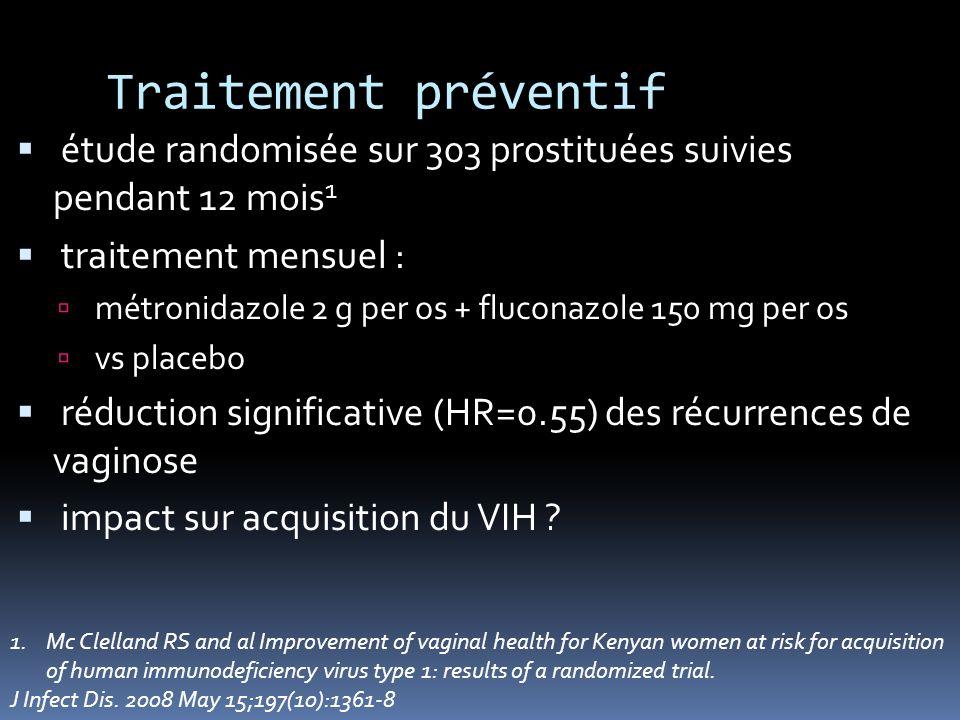 Traitement préventif étude randomisée sur 303 prostituées suivies pendant 12 mois1. traitement mensuel :