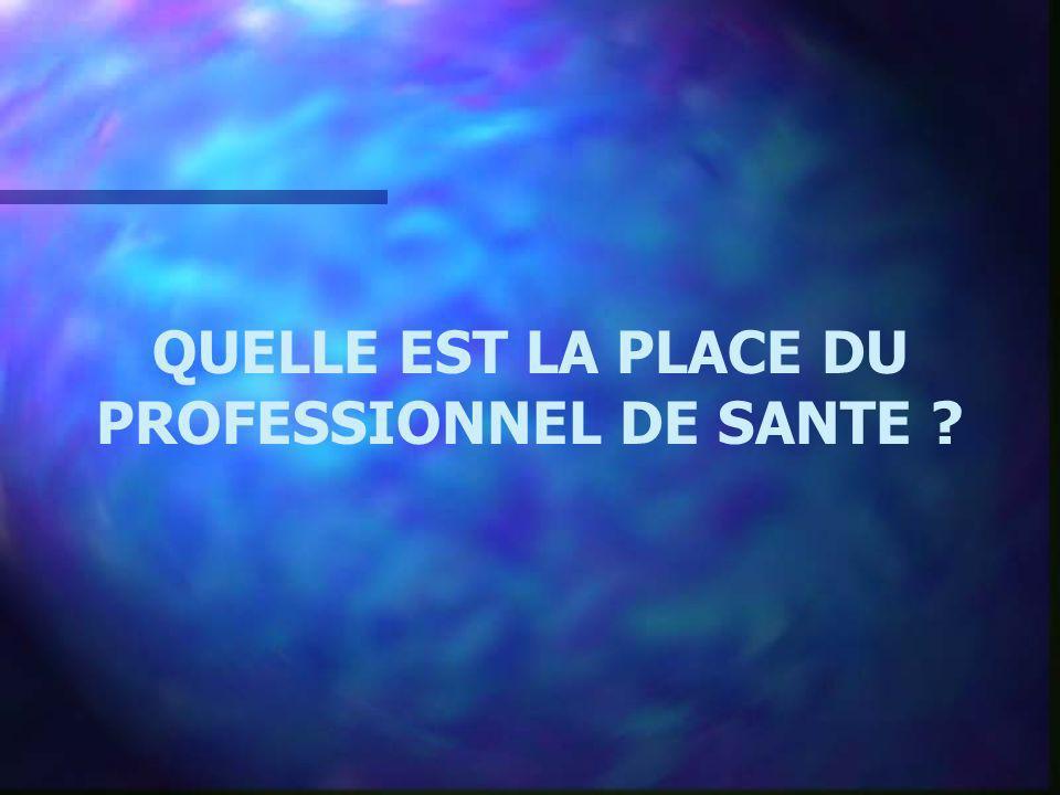 QUELLE EST LA PLACE DU PROFESSIONNEL DE SANTE
