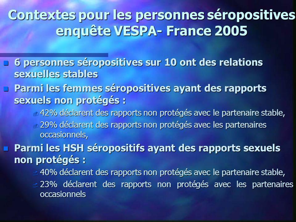 Contextes pour les personnes séropositives enquête VESPA- France 2005