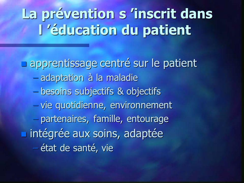 La prévention s 'inscrit dans l 'éducation du patient