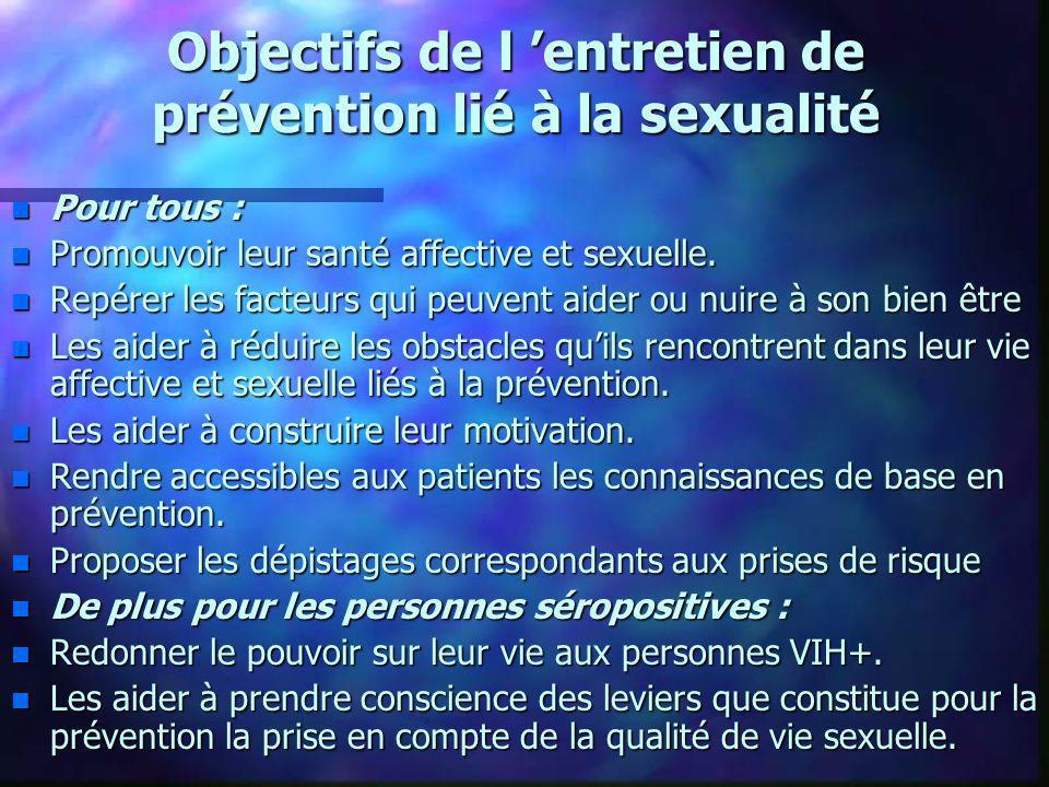 Objectifs de l 'entretien de prévention lié à la sexualité