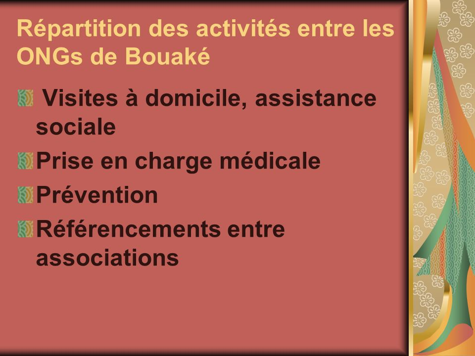 Répartition des activités entre les ONGs de Bouaké