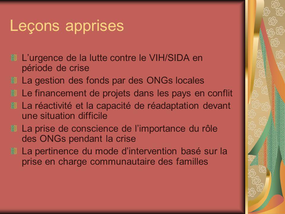 Leçons apprises L'urgence de la lutte contre le VIH/SIDA en période de crise. La gestion des fonds par des ONGs locales.