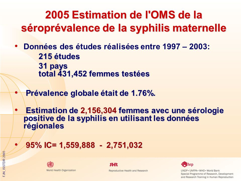 2005 Estimation de l OMS de la