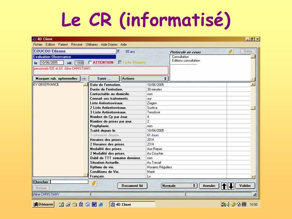 Le CR (informatisé)
