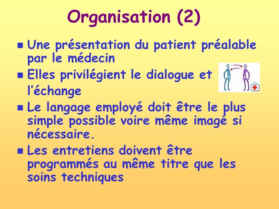 Organisation (2) Une présentation du patient préalable par le médecin