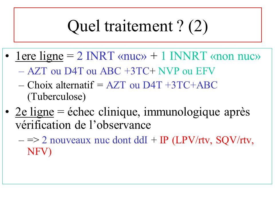 Quel traitement (2) 1ere ligne = 2 INRT «nuc» + 1 INNRT «non nuc»