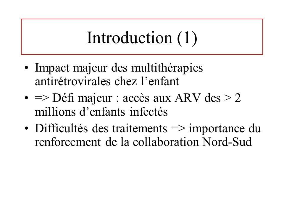 Introduction (1) Impact majeur des multithérapies antirétrovirales chez l'enfant. => Défi majeur : accès aux ARV des > 2 millions d'enfants infectés.
