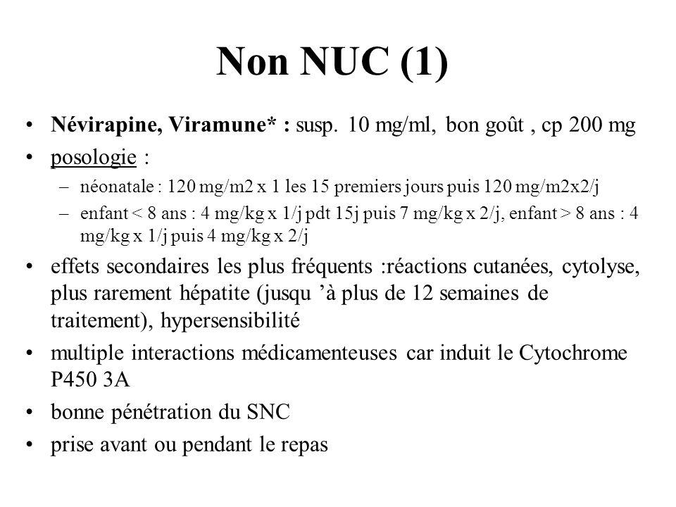 Non NUC (1) Névirapine, Viramune* : susp. 10 mg/ml, bon goût , cp 200 mg. posologie :