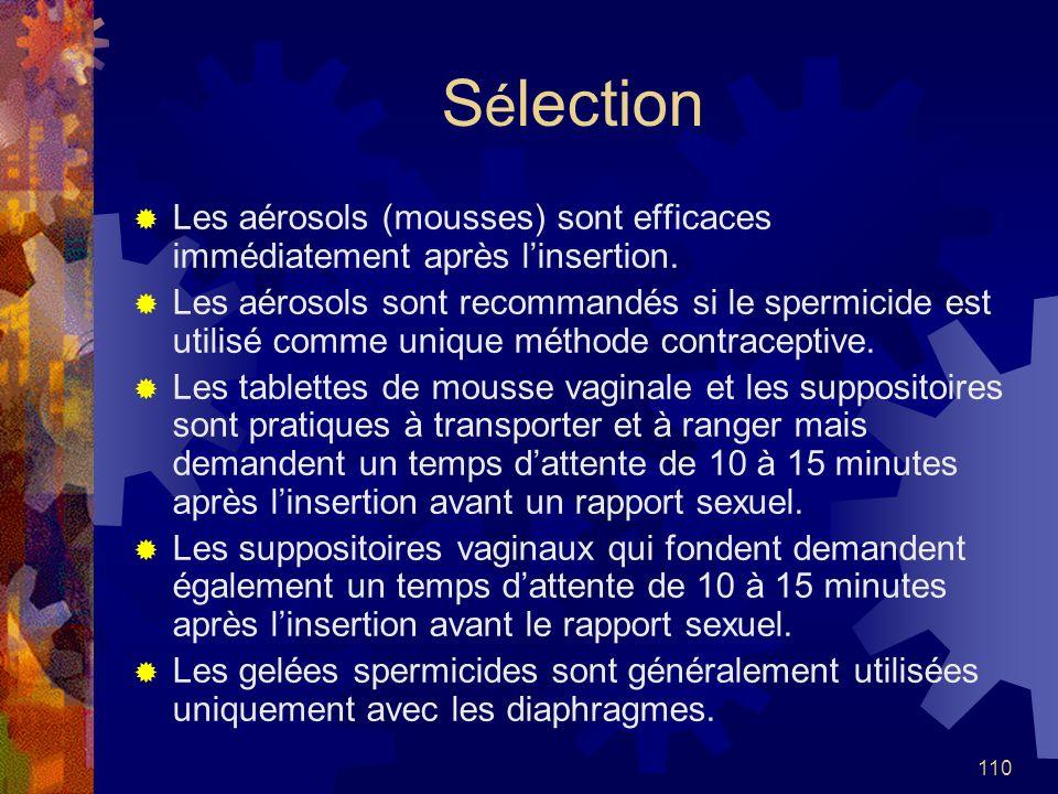 Sélection Les aérosols (mousses) sont efficaces immédiatement après l'insertion.
