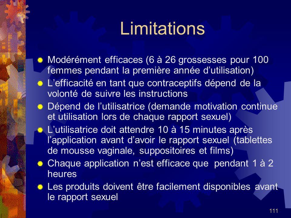 LimitationsModérément efficaces (6 à 26 grossesses pour 100 femmes pendant la première année d'utilisation)