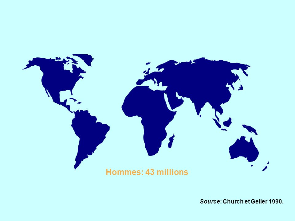 Hommes: 43 millions Source: Church et Geller 1990.