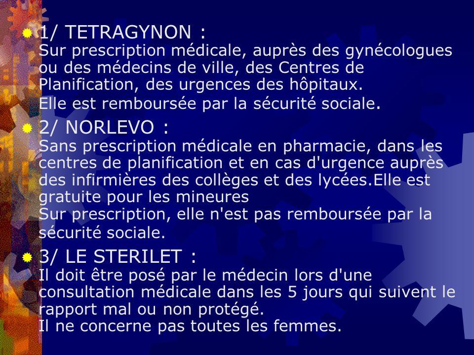 1/ TETRAGYNON : Sur prescription médicale, auprès des gynécologues ou des médecins de ville, des Centres de Planification, des urgences des hôpitaux. Elle est remboursée par la sécurité sociale.