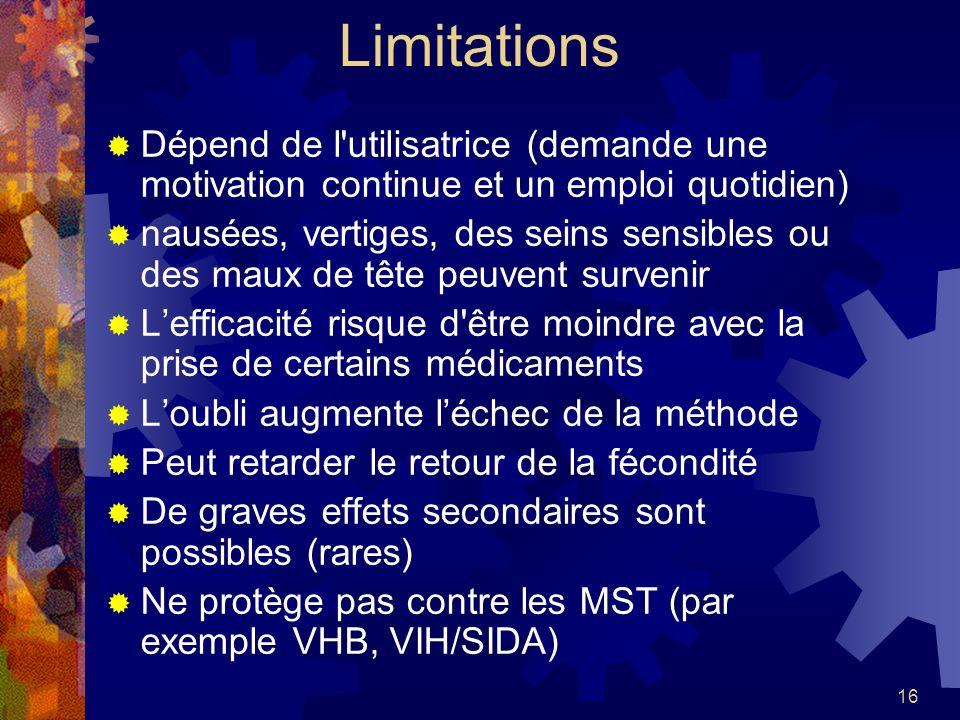 Limitations Dépend de l utilisatrice (demande une motivation continue et un emploi quotidien)
