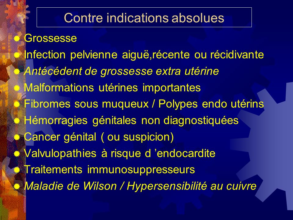 Contre indications absolues