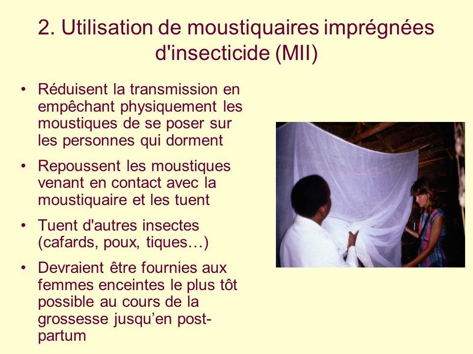 2. Utilisation de moustiquaires imprégnées d insecticide (MII)