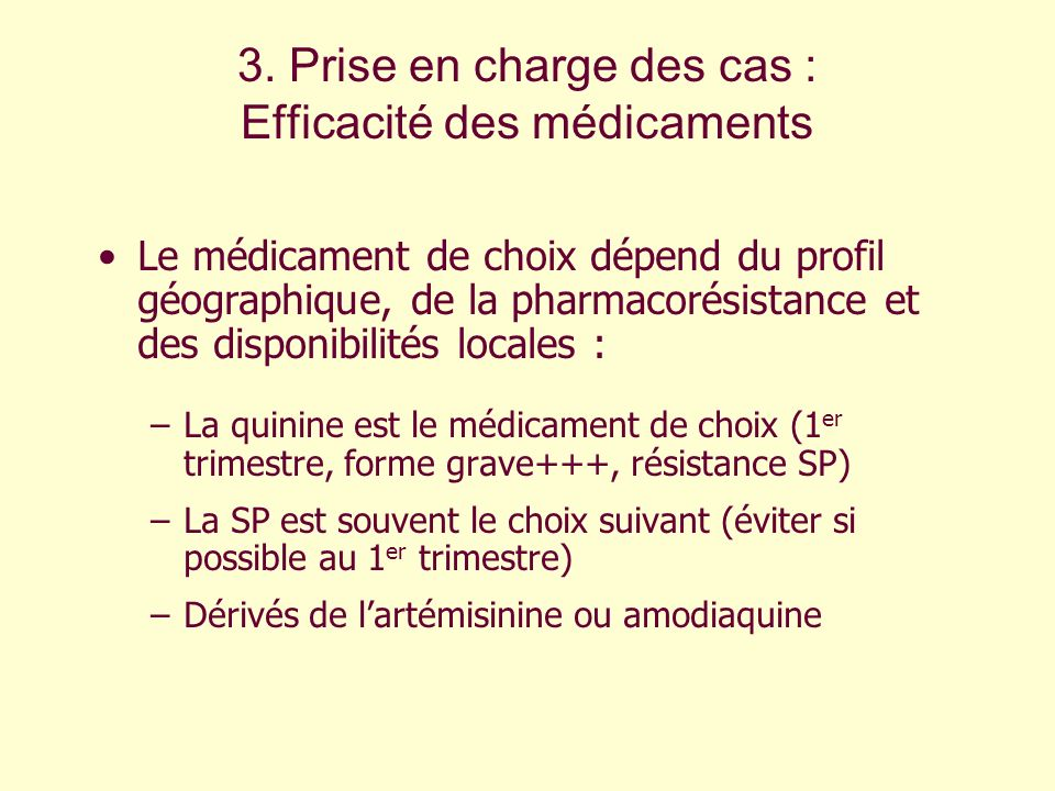 3. Prise en charge des cas : Efficacité des médicaments